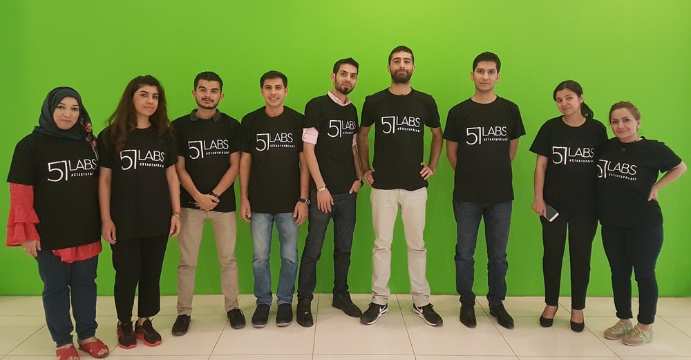 The Five One Labs entrepreneurs in their coworking space in Erbil, Iraq.