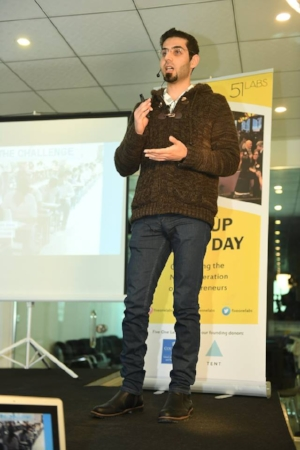 Muataz pitching during the Five One Labs Demo Day in February 2018.