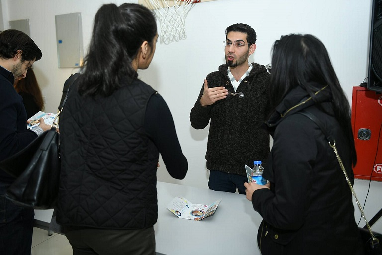Muataz talking to customers during Five One Labs' February 2018 Demo Day.