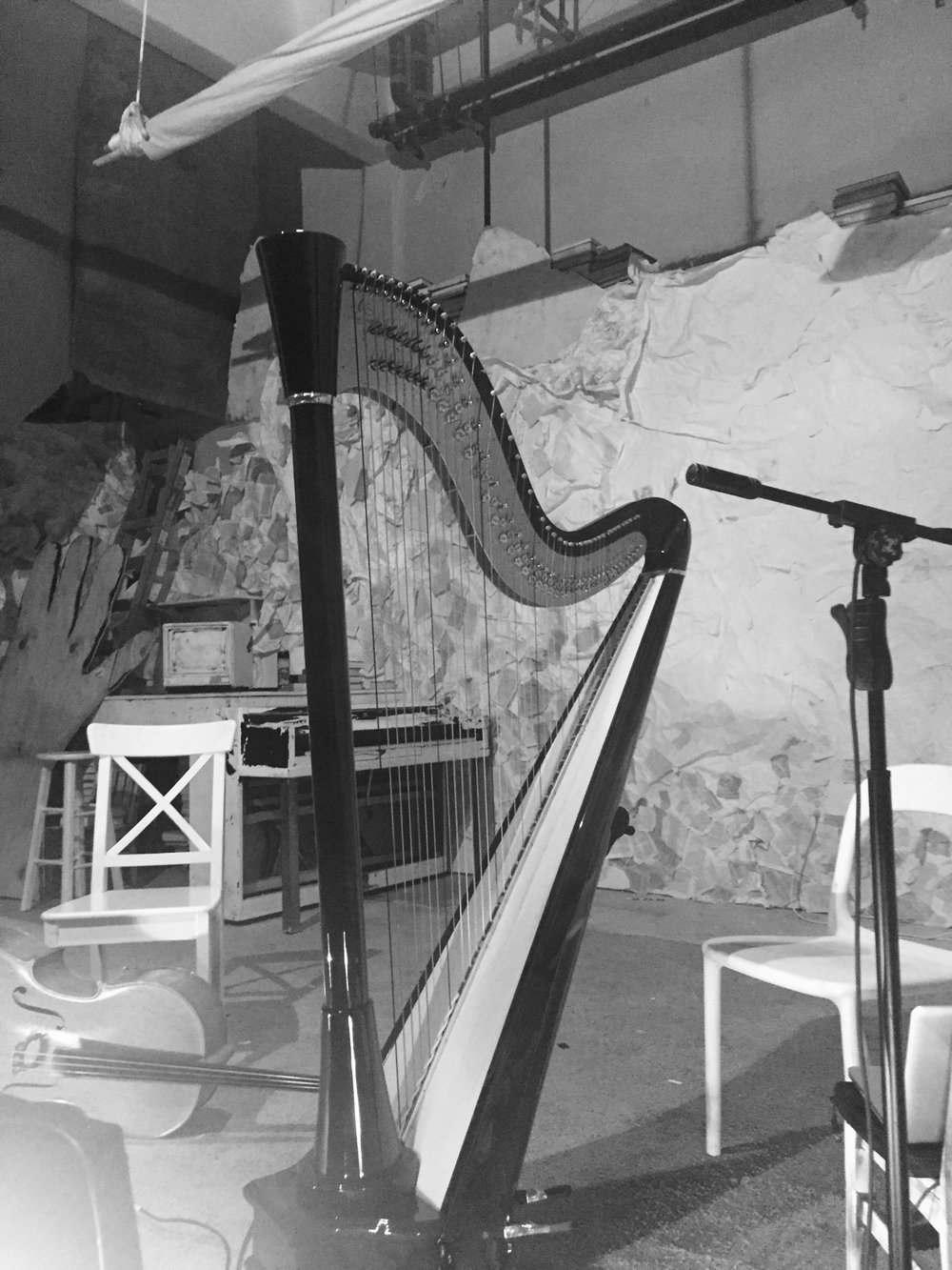 Harp & empty stage small.JPG