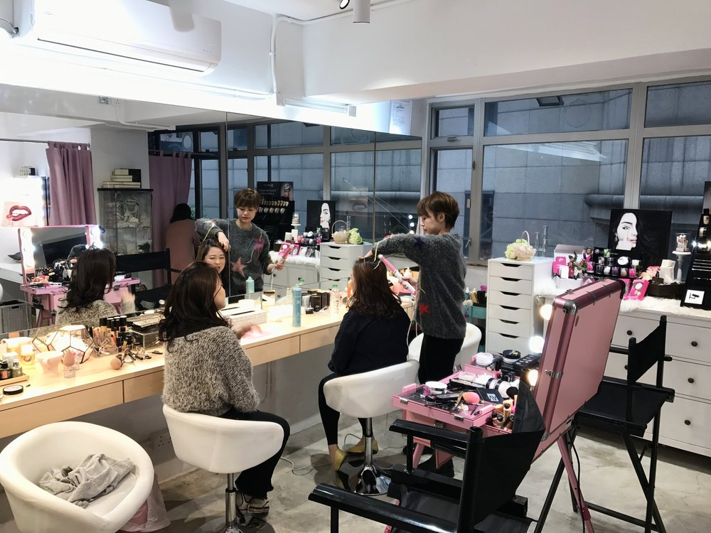 Pink in action at the make-up & hair studio in Causeway Bay