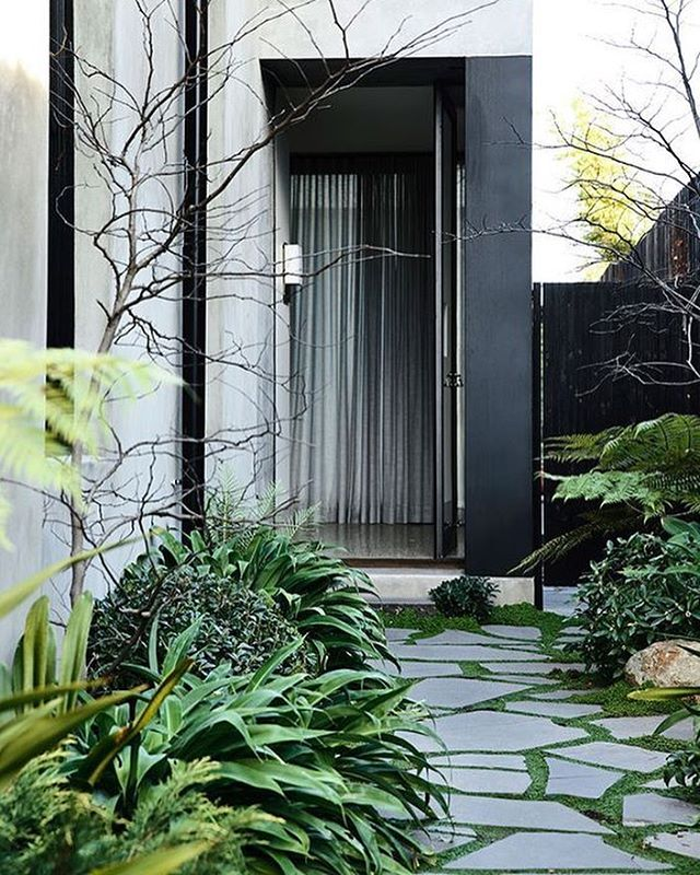 Starting Monday off right with an intimate and lushly landscaped entry path. #mondaymotivation #plants #indooroutdoor #modernhome #housetour #architecture #residential #home #homedecor #homedesign #lifestyle #style #buildingdesign #landscaping #landscapedesign #interiors #decorating #interiordesign #architect #designlife #minimalism #minimalist #modernism #beauty #luxury #luxurydesign #inspired #inspiredlife #socal