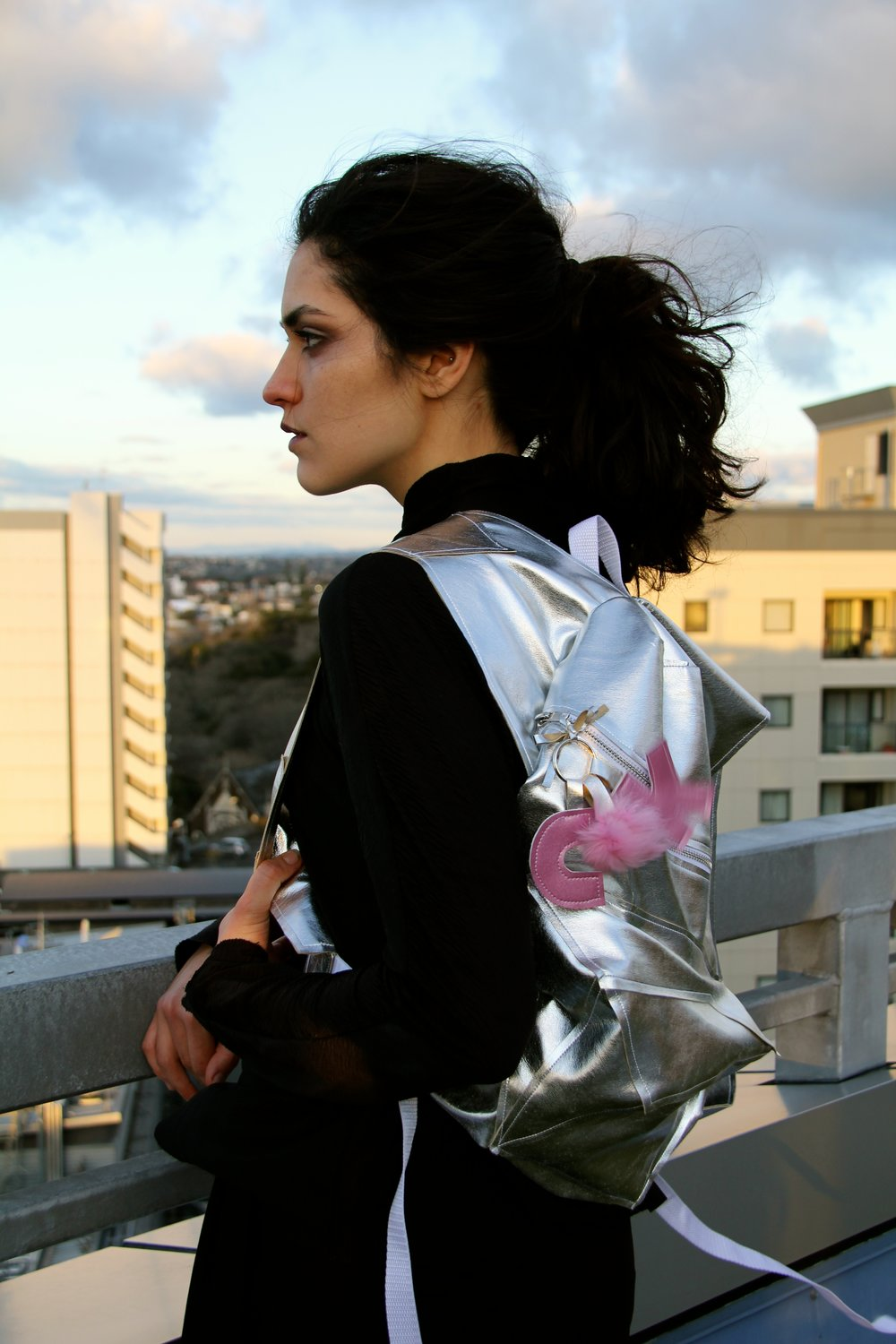 Camille Richard & Kendall Hayes Silver Cubism Backpack 2015 image 6.jpg