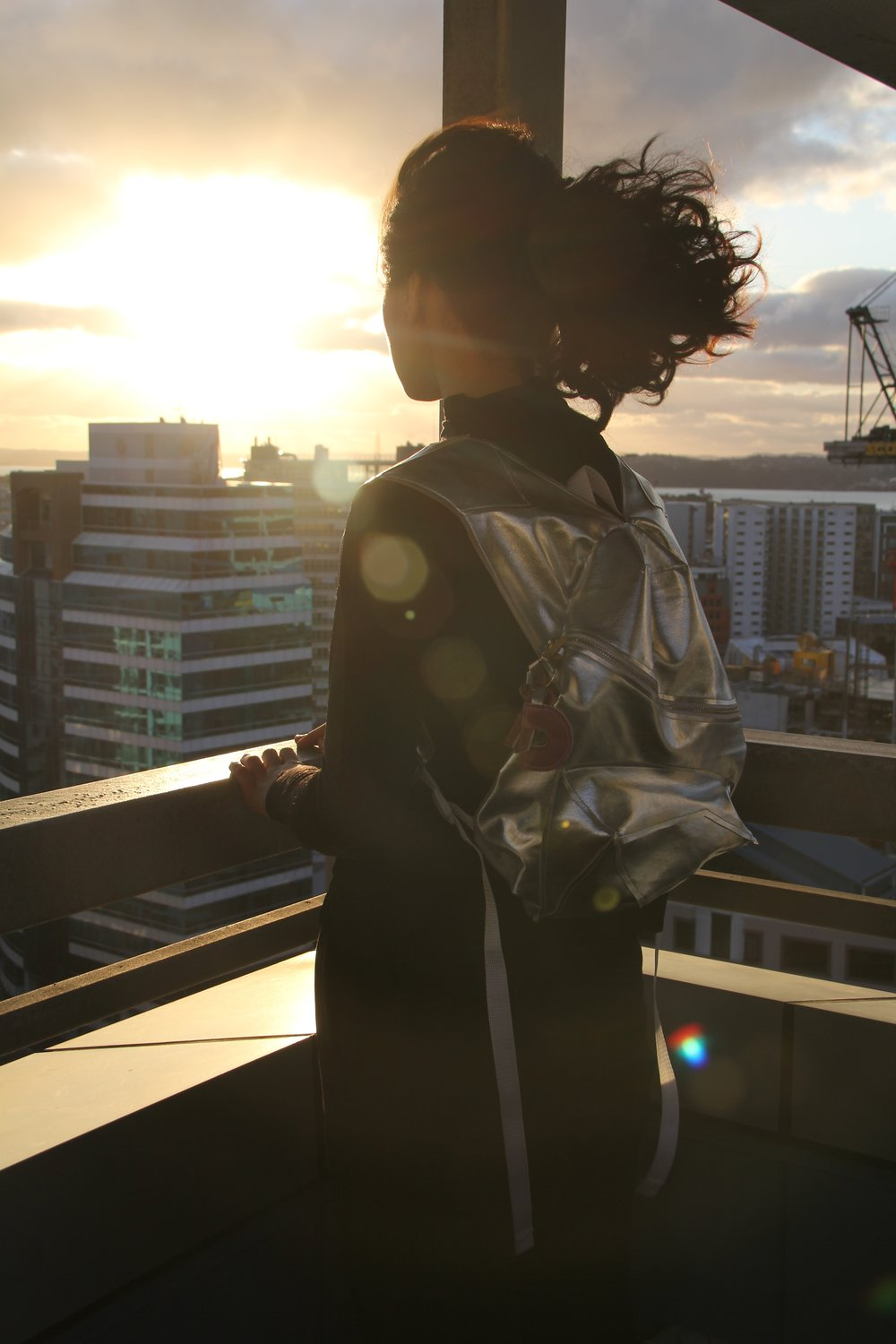 Camille Richard & Kendall Hayes Silver Cubism Backpack 2015 image 2.jpg