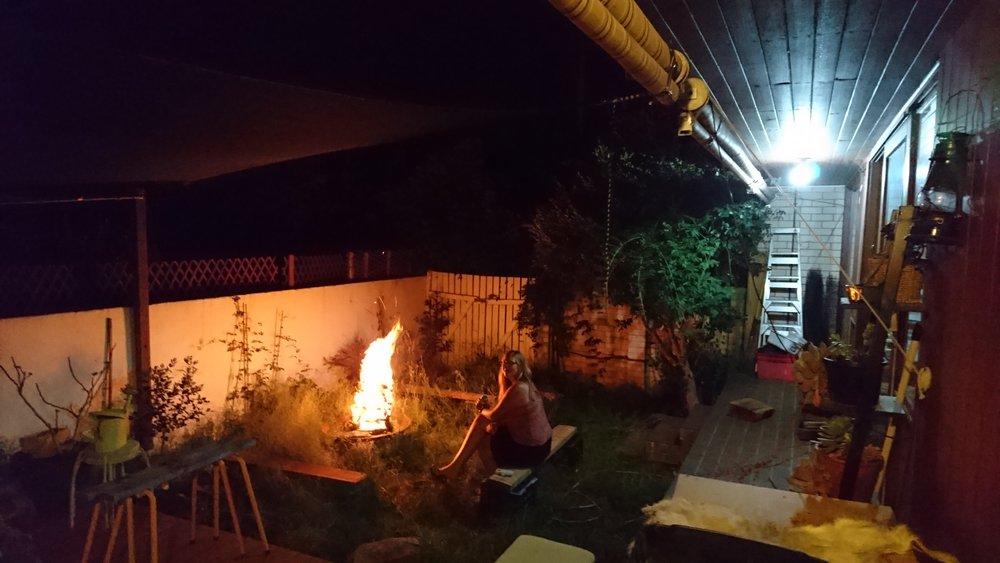 Big fire in a small backyard