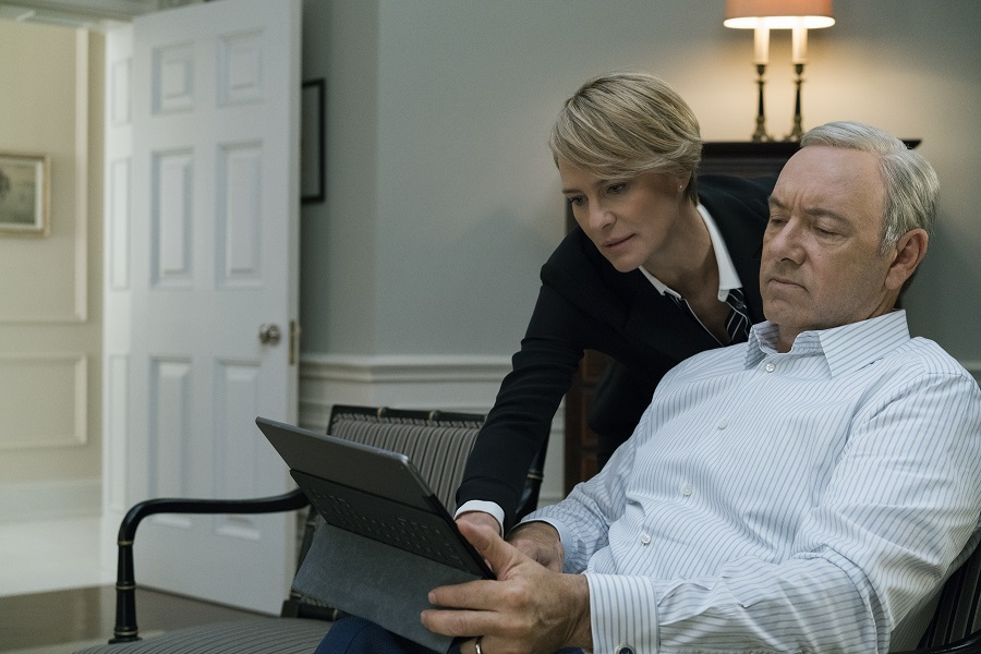 """It's C-O-V-F-E-F-E"": Robin Wright and Kevin Spacey (Claire and Frank Underwood) in Netflix's  House of Cards"
