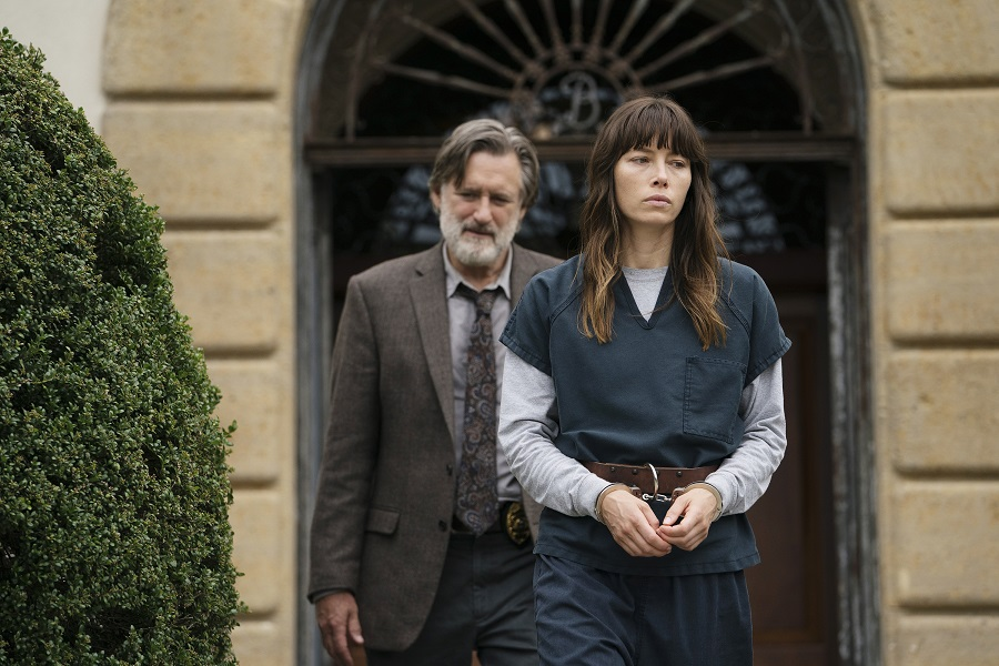 Locked Away: Bill Pullman (Detective Ambrose) and Jessica Biel (Cora Tannetti) in Netflix's  The Sinner