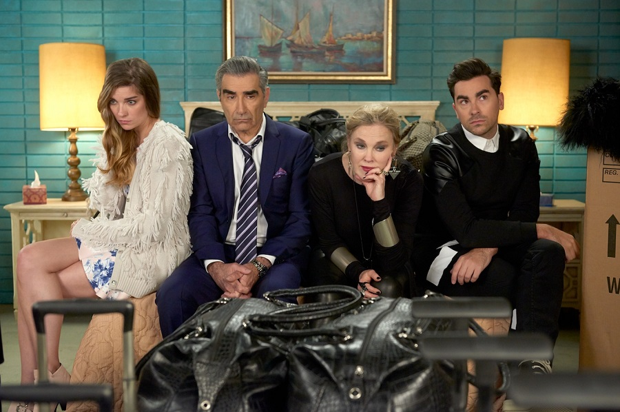 Stranded: Annie Murphy (Alexis), Eugene Levy (Johnny), Catherina O'Hara (Rose), and Daniel Levy (David) in  Schitt's Creek