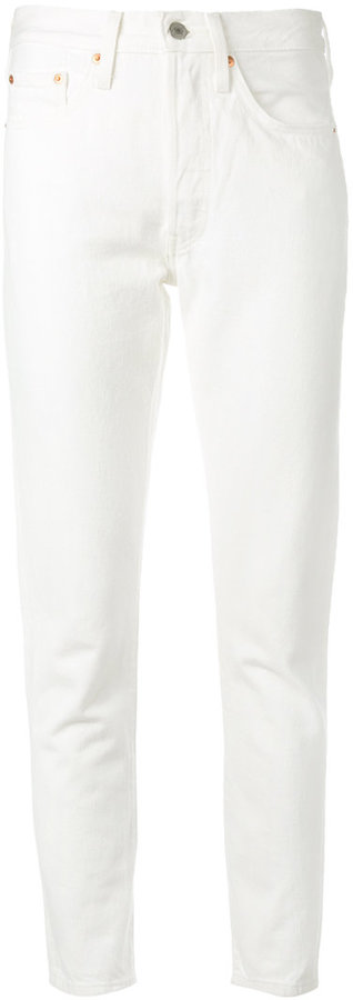 High Waisted Skinny White Jeans by Levi's
