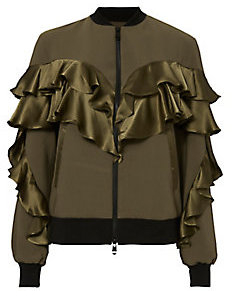 Leia Satin-Ruffle Bomber Jacket by Cinq a Sept