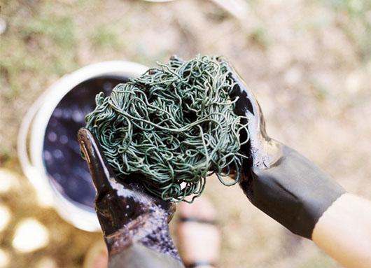 Belinda Evans - indigo textile dyeing - photo by Olga Bennett - 2013