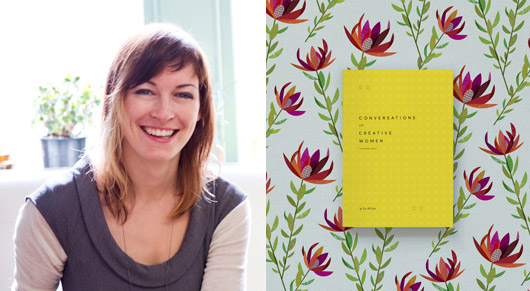 Lara Cameron and the fabric wrap she has designed exclusively for the release of Conversations with Creative Women: Volume Two pre-order