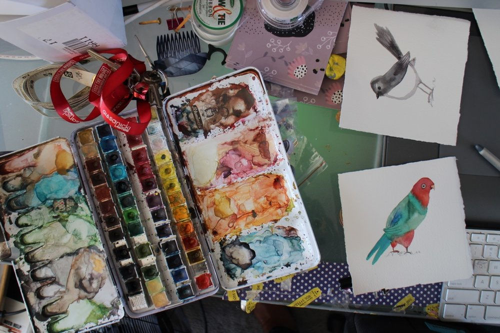 illustration, watercolours, birds