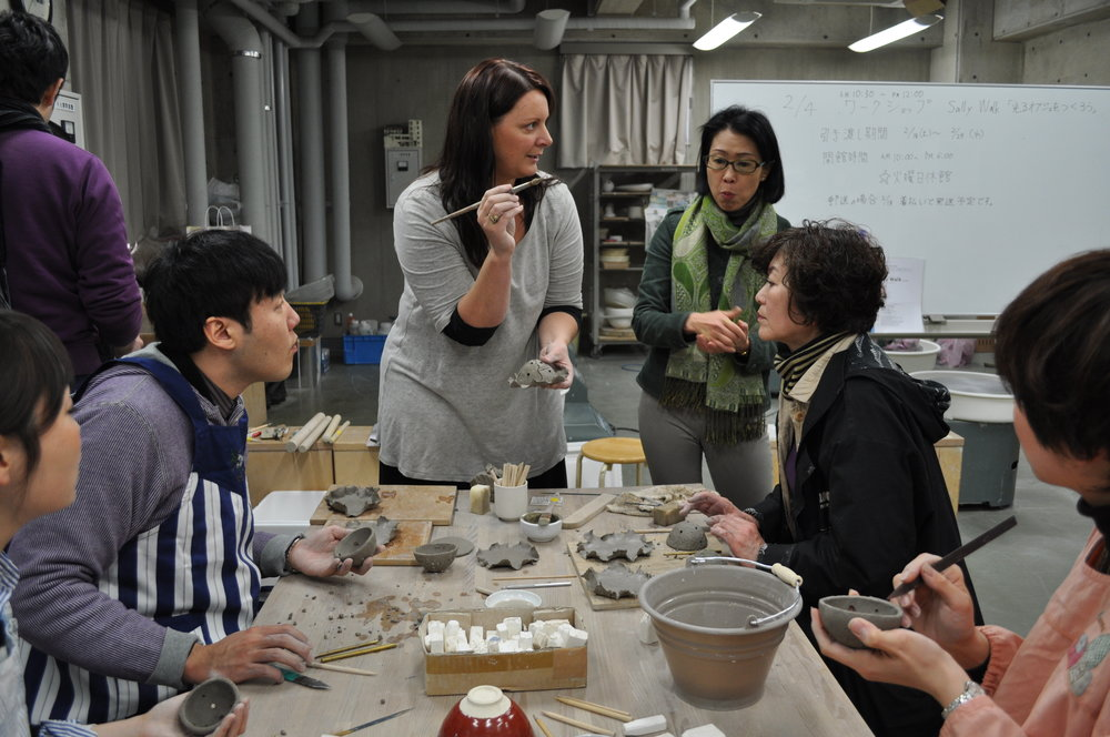 Sally teaching a workshop in Seto, Japan