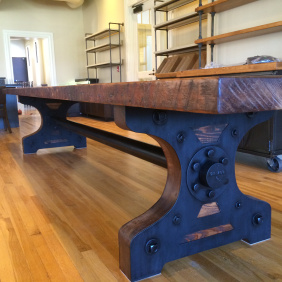 An 18' long king table made from reclaimed Doug Fir