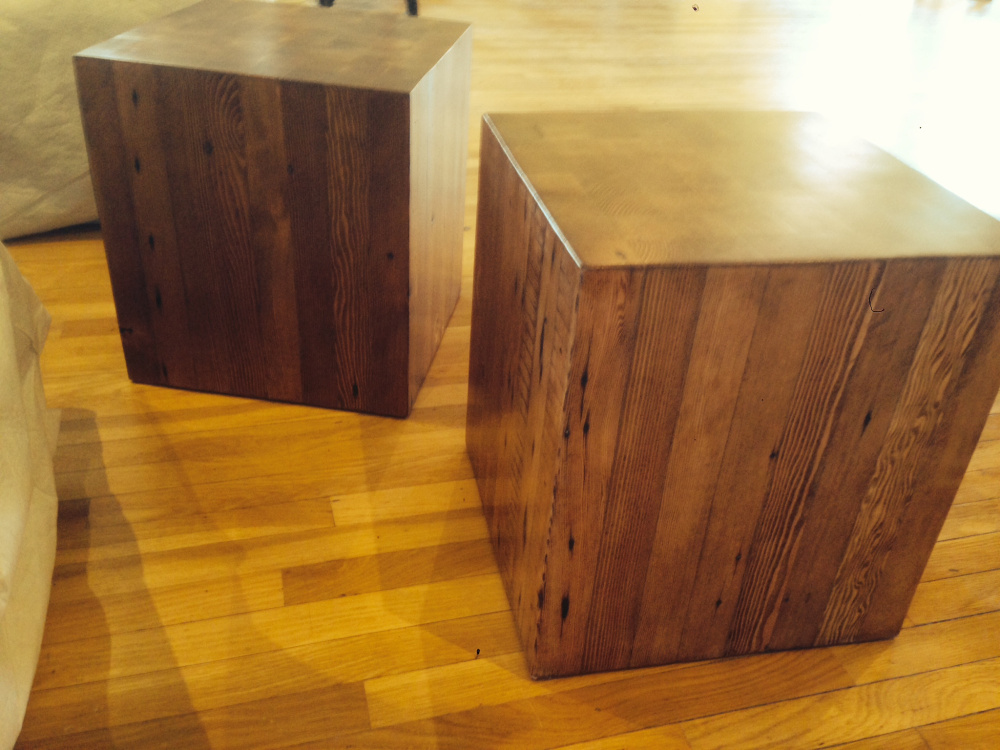 Solid wood blocks made from cutoffs act as additional seating...