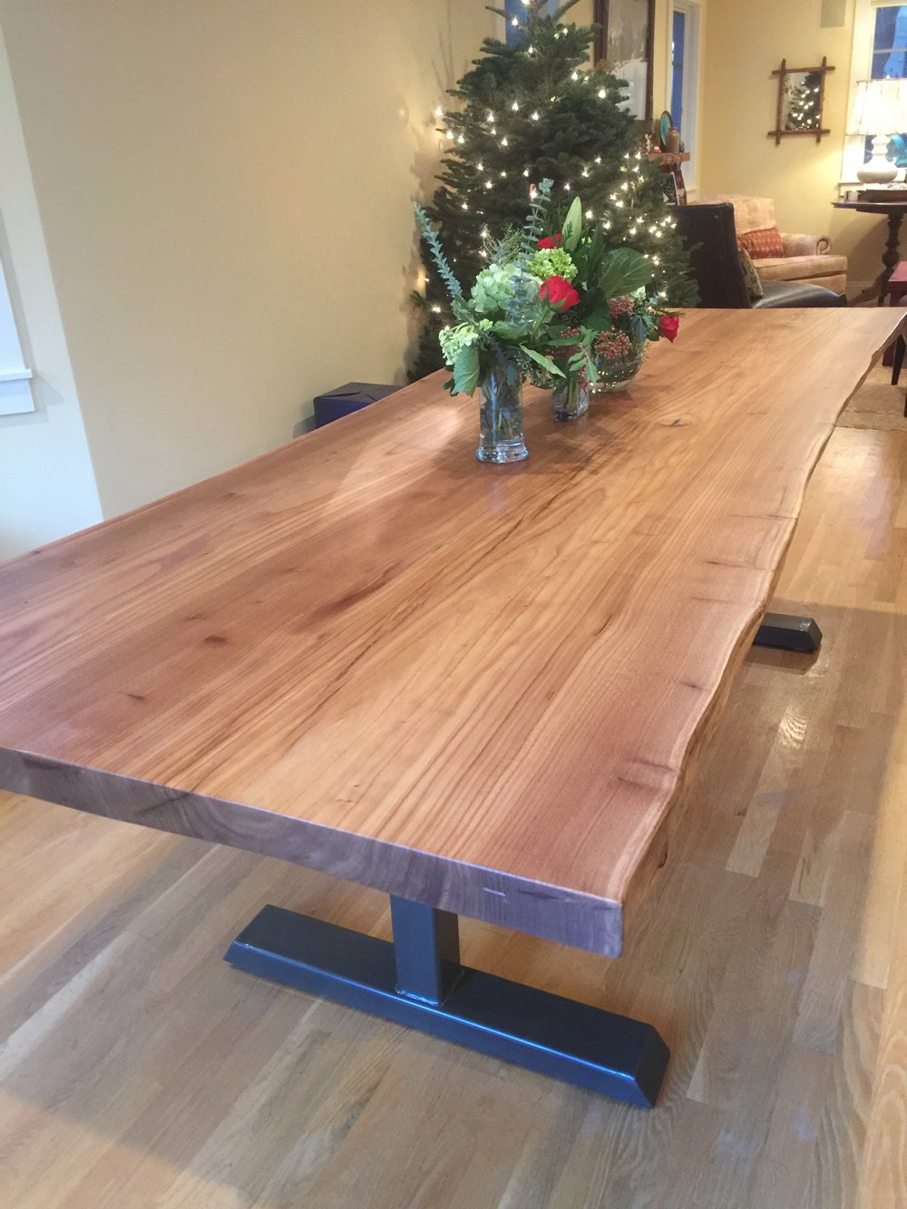 A custom Elm dining table fits perfectly in this Mill Valley dining room.