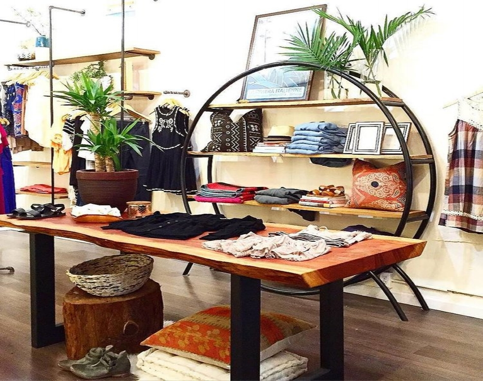 Center table, circular and modular shelving at Marmalade Boutique