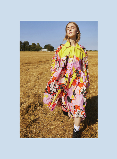 3020 DAISY COAT - Printed coat with ruffle yoke £795Ripstop nylonColour options FLORAL PINK/BLACK