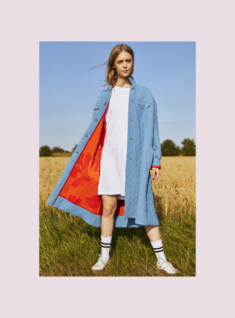 3010 INGEBORG  COAT - Quilted coat with contrast printed lining £950 100% crepe woolColour options RED/BLUE/YELLOW