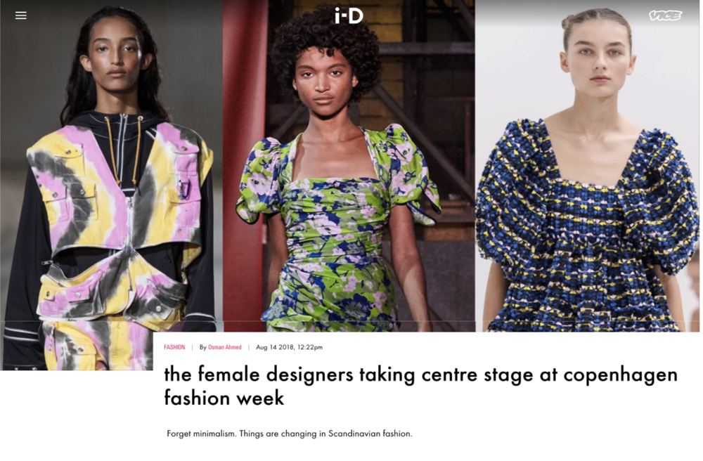 i-D magazine - The female designers taking centre stage at CPHFWAugust 14th 2018 by Osman Ahmed