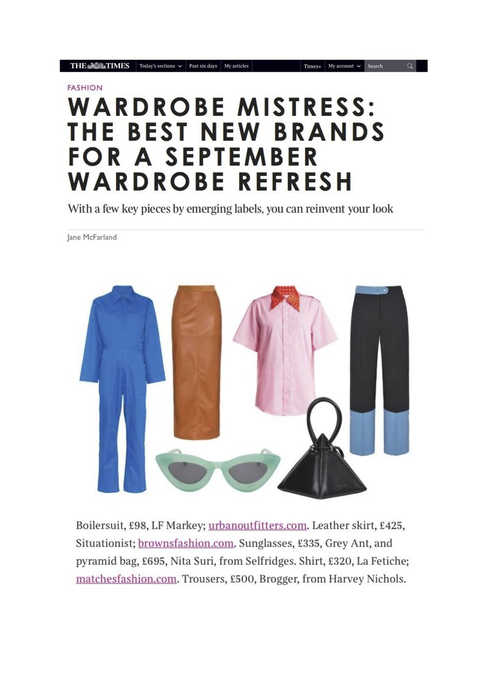 The Sunday Times Style - The Wardrobe Mistress by Jane McFarland September 2nd 2018