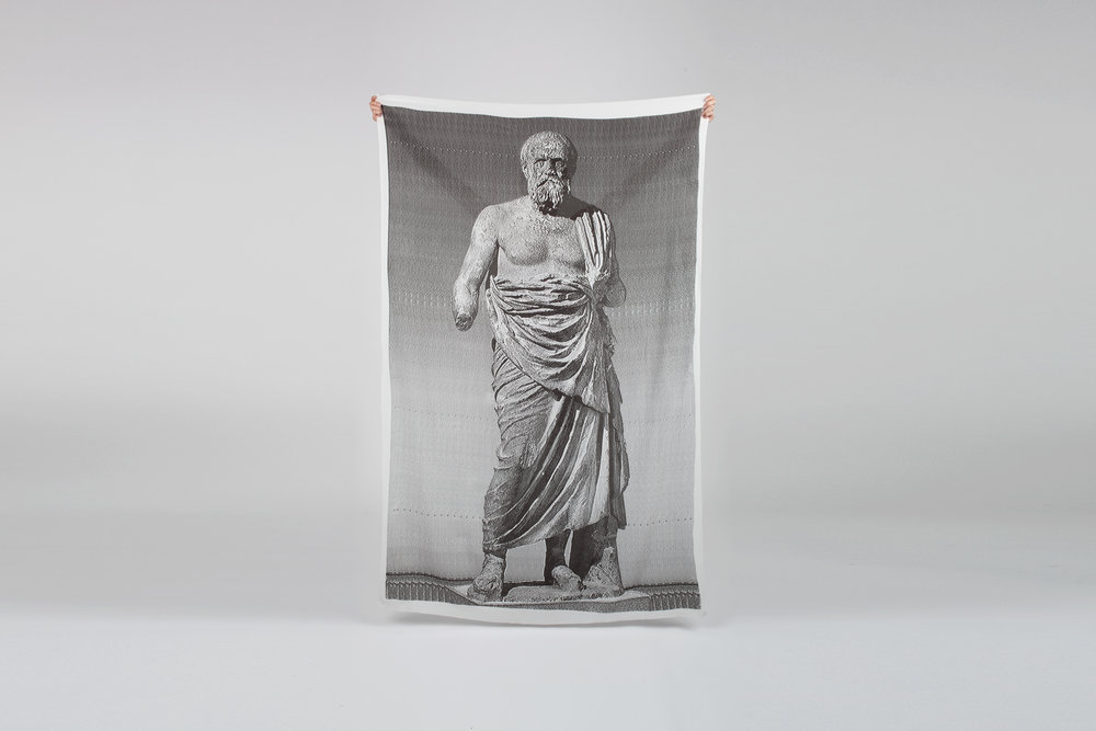 "Socrates , 2016  Screen print on silk  crepe   42"" x 74"""