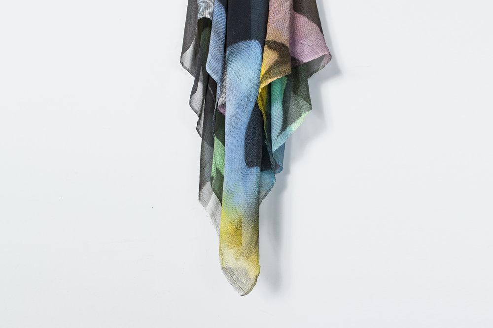 "Chromas , (detail), 2016  Multi-color screen print on silk   chiffon  42"" x 42"""