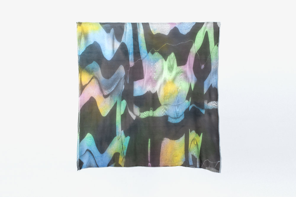 "Chromas , 2016  Multi-color screen print on silk   chiffon  42"" x 42"""