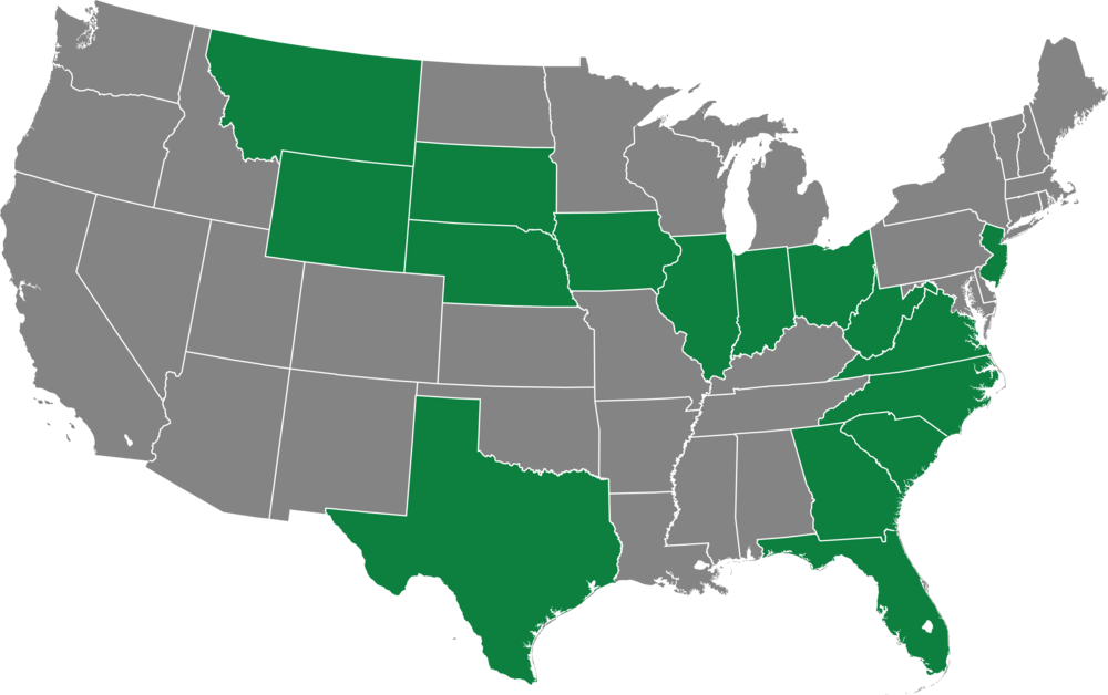 Filming locations in green.