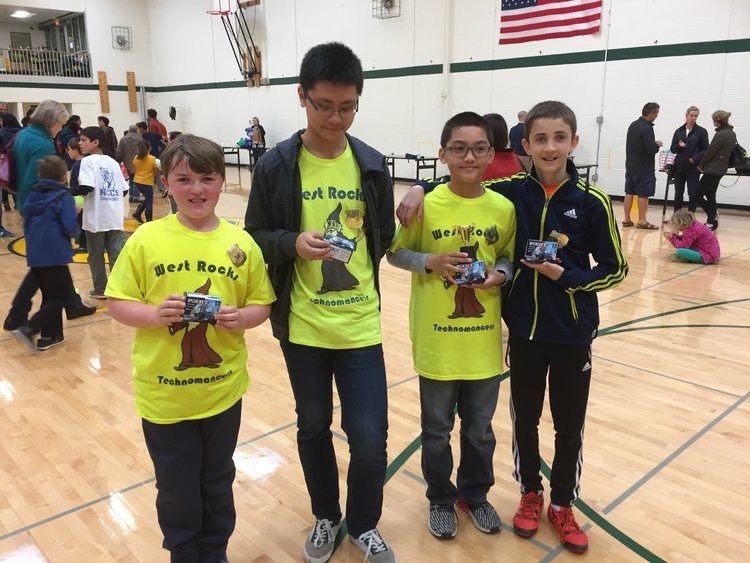West Rocks Middle School's winning robotics team