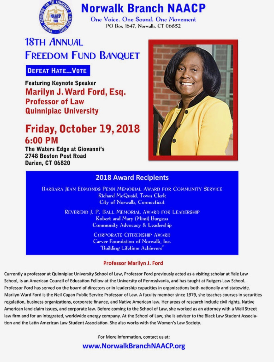 Carver to be honored by the Norwalk Branch NAACP on Friday, October