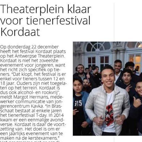 In Gazet Van Antwerpen vandaag al een kort stukje #kordaat16 @soufiane_eddyani#antwerpen #thisisantwerp #soufianeeddyani #festival