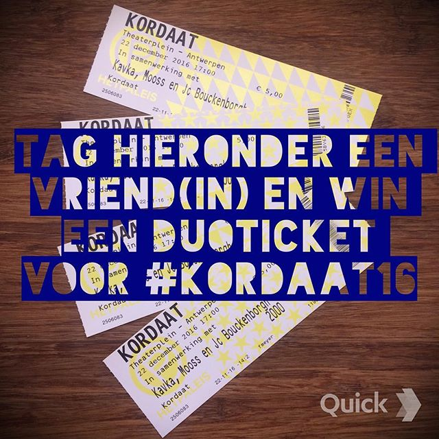 Op 22 december is het zover! KORDAAT Festival 2016 op het Theaterplein in Antwerpen. Wil je erbij zijn? Tag dan een vriend/vriendin hieronder in de reacties en maak kans op een duoticket voor het festival!❤️ maandag maken we de twee winnaars bekend. Je moet tussen 12 en 18 jaar zijn om deel te nemen #kordaat16 #antwerpen #festival #thisisantwerp #wedstrijd #kordaat #kordaatfestival