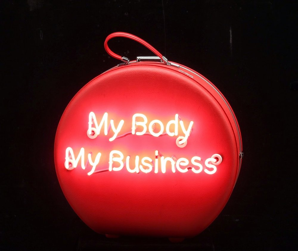 "My Body My Business, 2015 Neon on Vintage Case 24"" x 20"" x 11"""