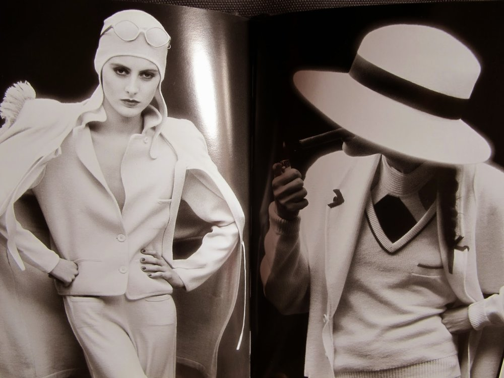 left: Sonia Rykiel beige jersey suit and beige wool and angora coat Spring Summer 1981 / long knit cream cardigan, with V-neck sweater Fall/Winter 1980