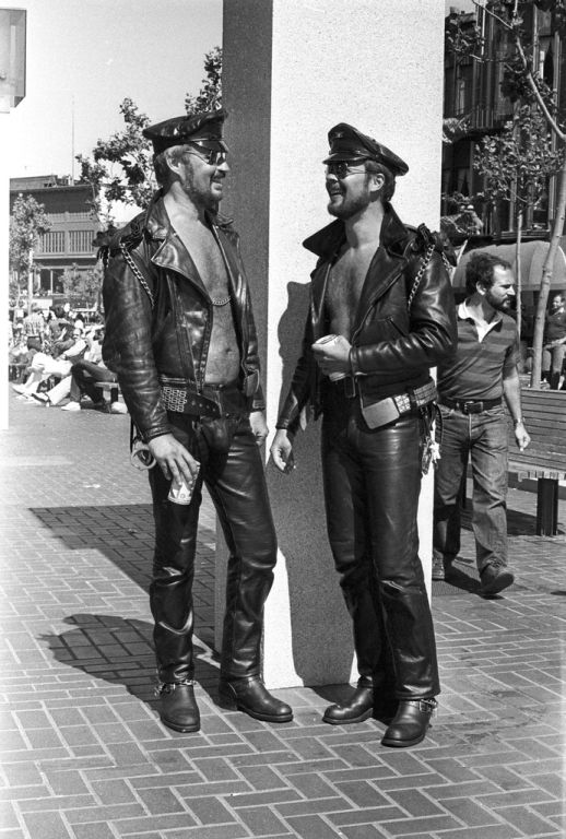 "One of the ""Castro"" looks: Leather Daddies at San francisco Gay Pride 1978"