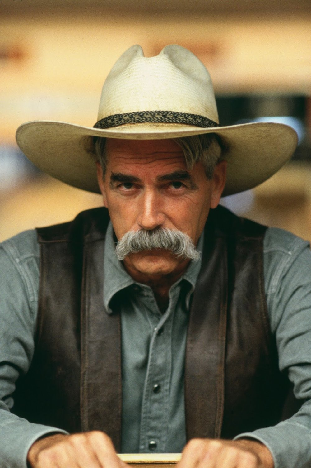 Sam Elliott in the 'Big Lebowski', wearing what I believe is the epitome of the 'walrus mustache'.