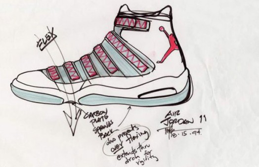 Tinker Hatfield's design layout for the Air Jordan III