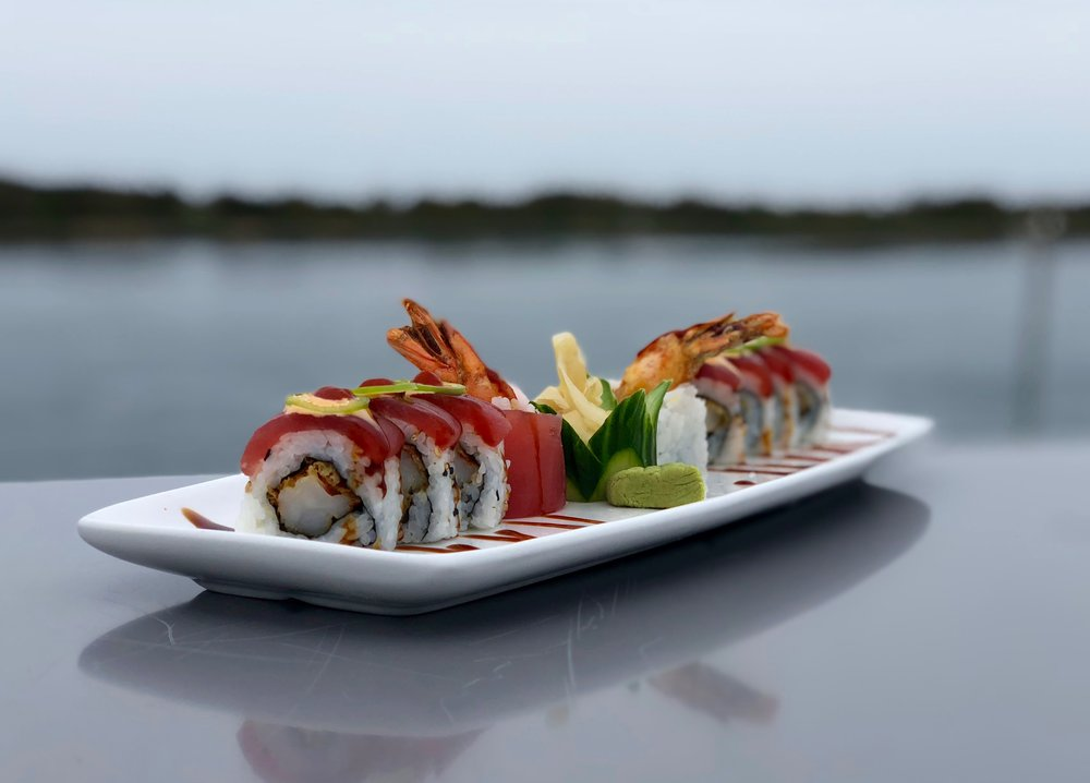 SUSHI - available Tuesdays through Sundays!— Spicy Tuna & Lobster Roll* — cilantro, wasabi sauce, lobster, topped with spicy tuna and eel sauce$16— Tempura Fried Sweet Potato Roll —$12— Spicy Tuna Crunch Roll* —spicy tuna, scallions, tempura flakes$15— Naruto Roll* —cucumber, Jonah crab, avocado, salmon, wasabi sauce (no rice)$15