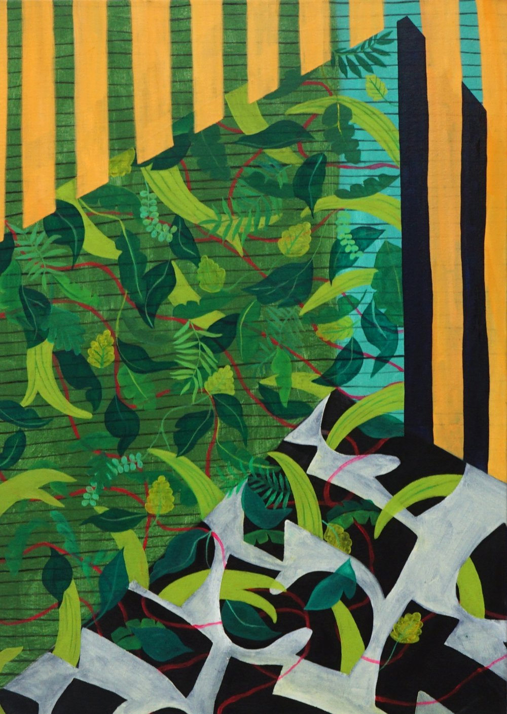 """jungle room  Oil and acrylic on canvas  38""""h x 27""""w  2015"""