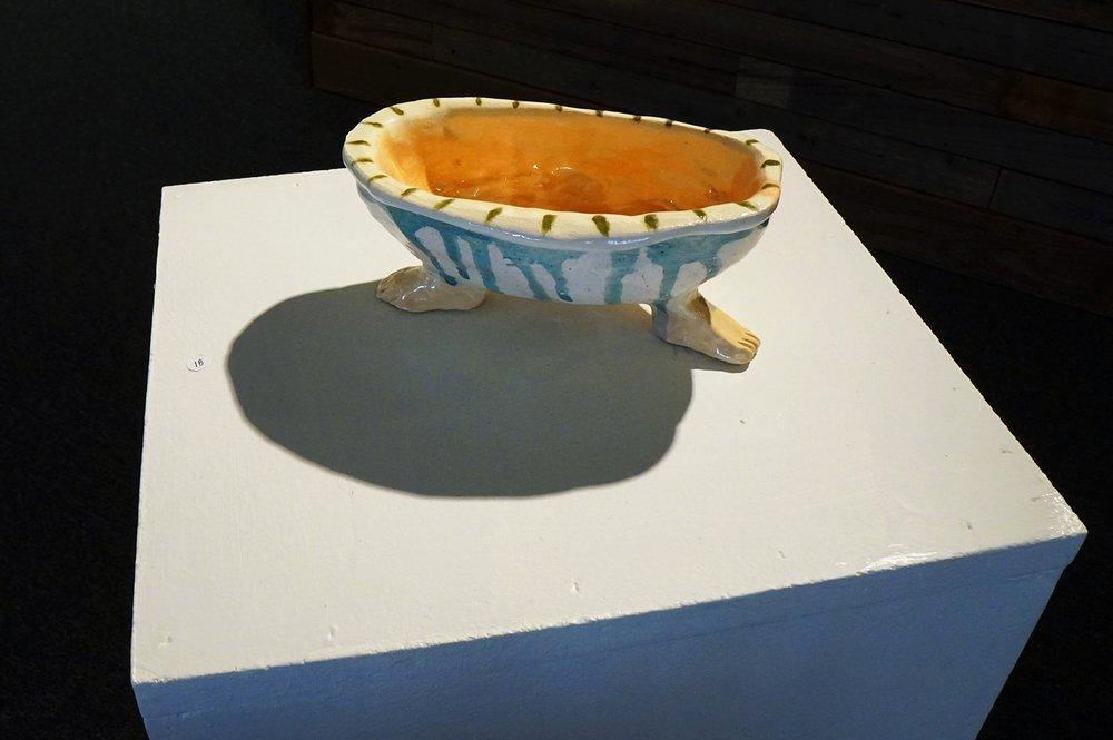 """bathtub  Glazed ceramic  2.5""""h x 7""""w x 3.5""""d  2017"""
