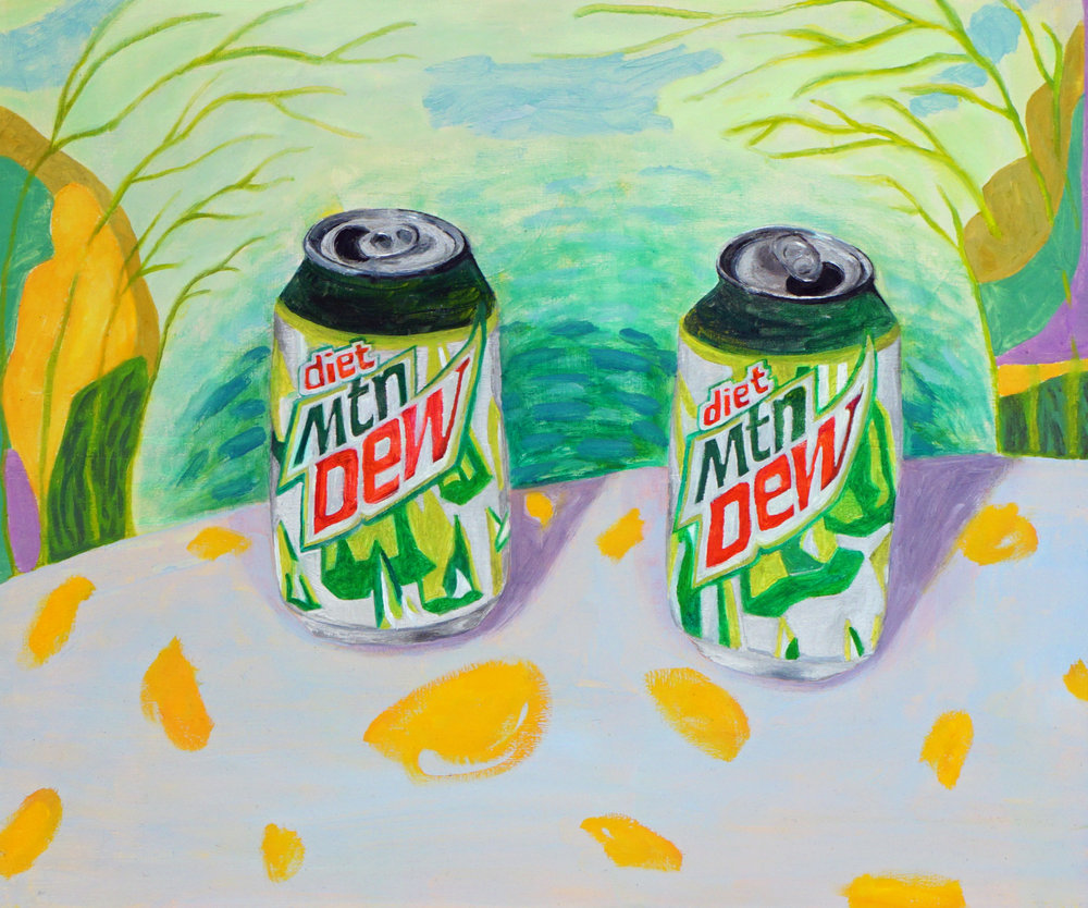 "two diet mountain dews  acrylic and oil on panel  20""h x 24""w  2017"