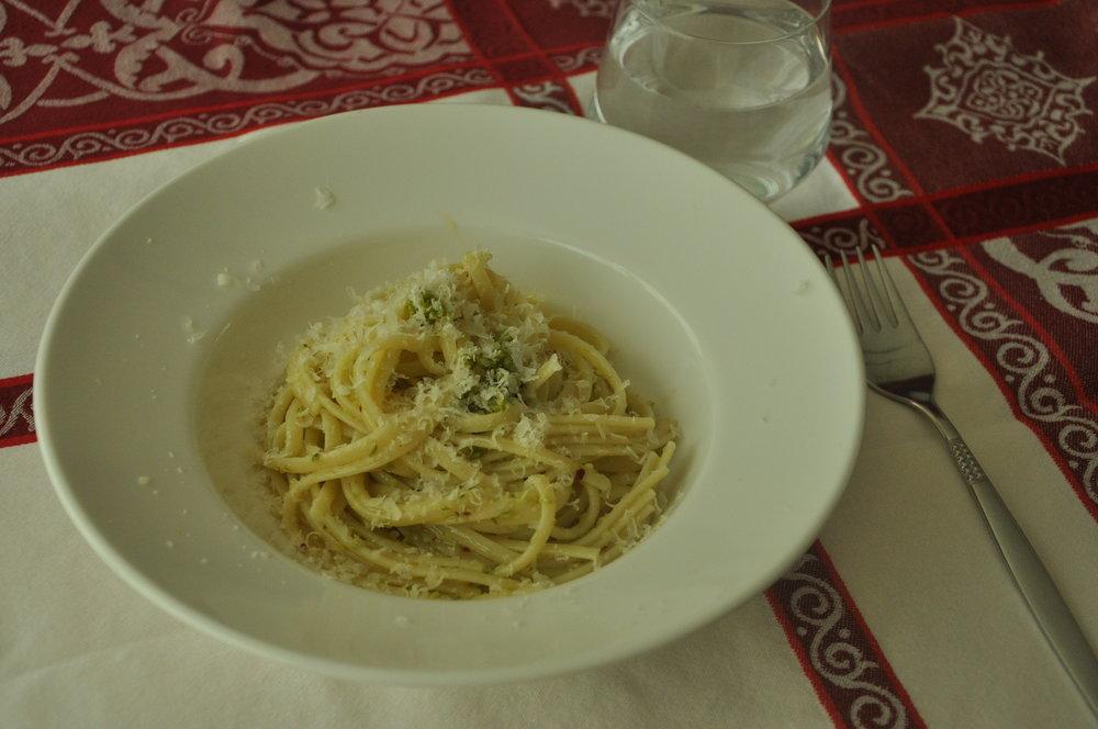 Italiaanse knoflook spaghetti