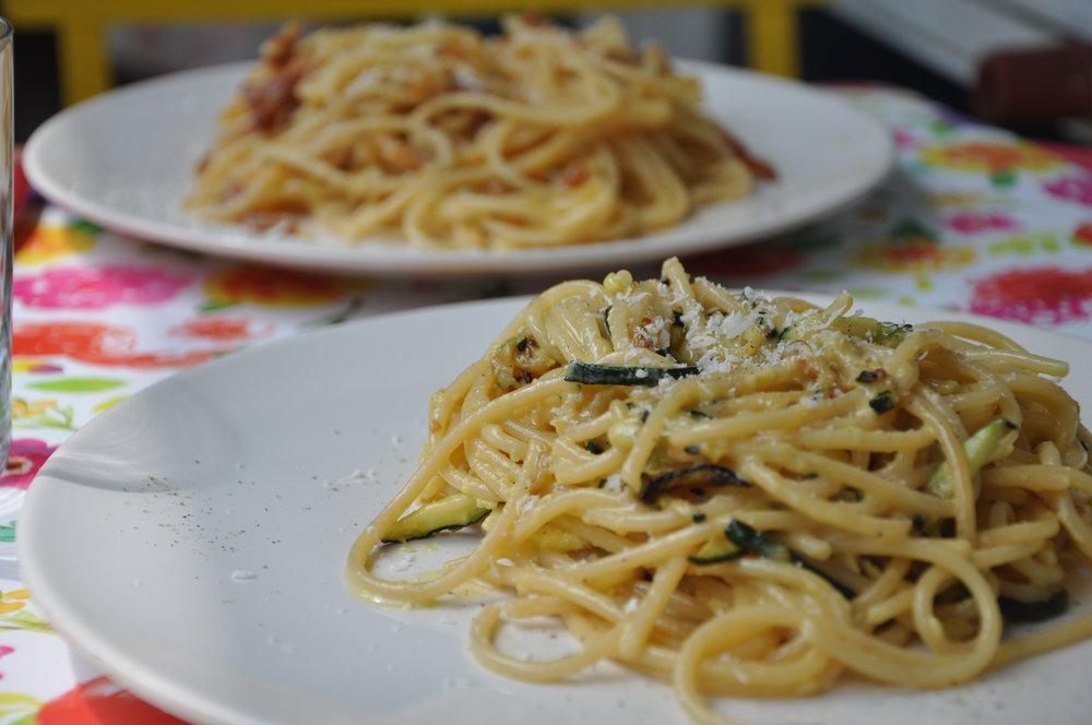 Italiaans voorgerecht: Vegetarische carbonara