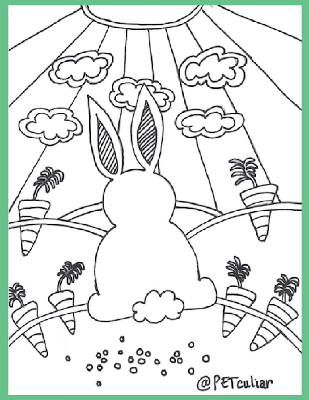 Petculiar Bunny with Carrots Coloring Page