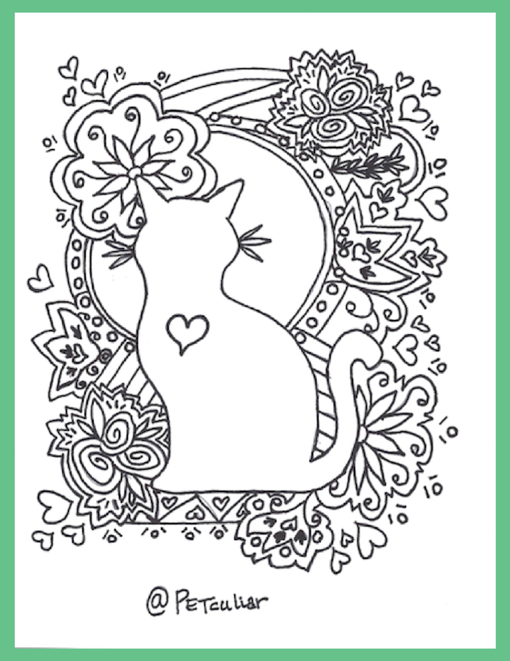 Petculiar Cat Love Coloring Page