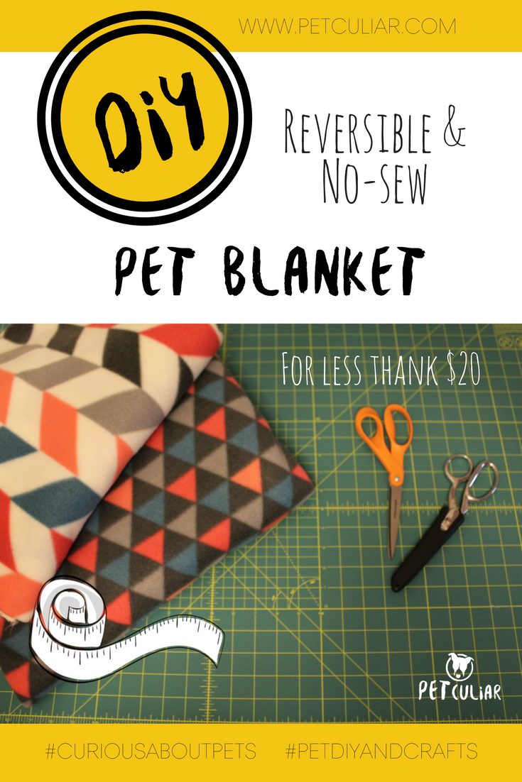 DIY Reversible and no-sew pet blanket. Petculiar