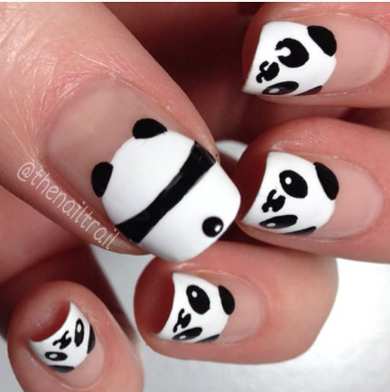 Panda nail art. Pet blog. Lifestyle and culture