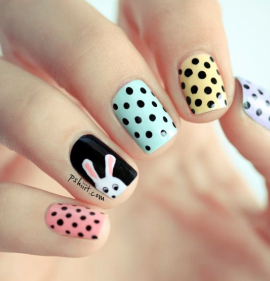 bunny rabbit nail art. easter nails